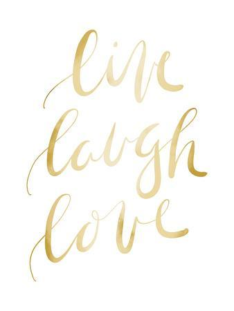 Gold Live Laugh Love Typography