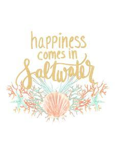 Happines Comes In Saltwater Typography by Jetty Printables