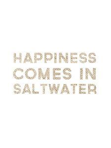 Happiness Comes In Saltwater Coastal Typography by Jetty Printables