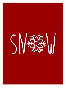 Red White Snow Snowfake by Jetty Printables