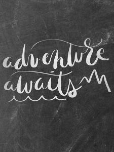 Silver Chalkboard Adventure Awaits Typography by Jetty Printables