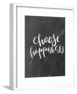 Silver Chalkboard Choose Happiness Typography by Jetty Printables