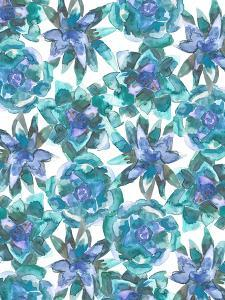 Watercolor Blue And Green Succulent Pattern by Jetty Printables