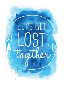 Watercolor Blue Background Let's Get Lost by Jetty Printables