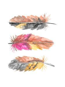 Watercolor Boho Feather Trio 1 by Jetty Printables