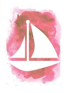 Watercolor Pink Sailboat by Jetty Printables