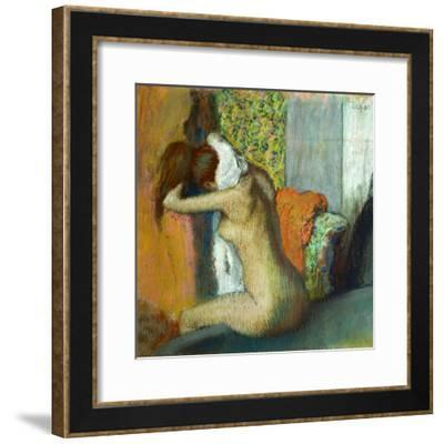 Jeune femme se sechant la nuque, 1895 Young woman drying her neck. RF 4044.-Edgar Degas-Framed Giclee Print
