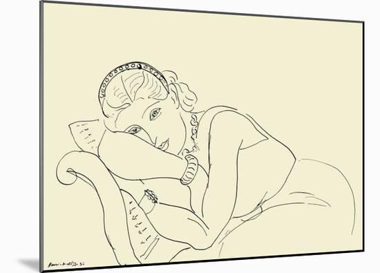 Jeune Fille avec Tiare-Henri Matisse-Mounted Art Print