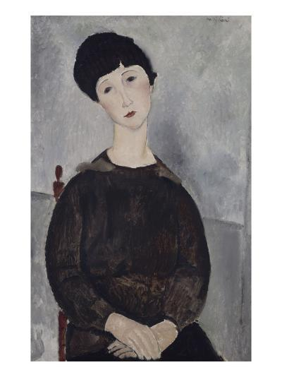 Jeune fille brune, assise-Amedeo Modigliani-Giclee Print