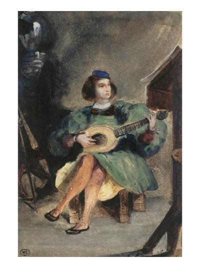 Jeune guitariste en costume italien de la Renaissance-Eugene Delacroix-Giclee Print