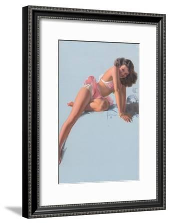 Jewel Flowers, Pin Up Girl c.1940s-Rolf Armstrong-Framed Art Print