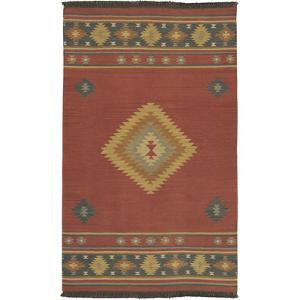 Jewel Tone Area Rug - Brick/Navy 5' x 8'