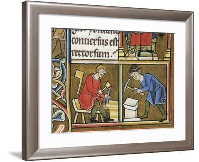 Jewish Craftsmen Working, Miniature from Beatae Elisabeth Psalterium--Framed Giclee Print