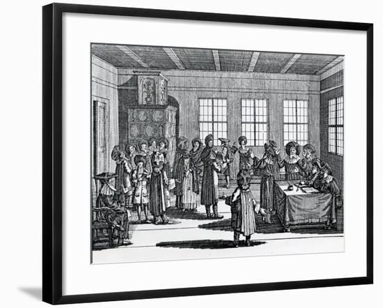 Jewish Divorce Scene, from the 'Judisches Ceremoniel', by Paul Christian Kirchner, 1726--Framed Giclee Print
