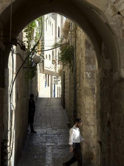 Jewish Man in Traditional Clothes, Old Walled City, Jerusalem, Israel, Middle East-Christian Kober-Photographic Print