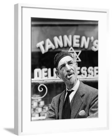 Jewish Man Standing in Front of a Storefront--Framed Photo