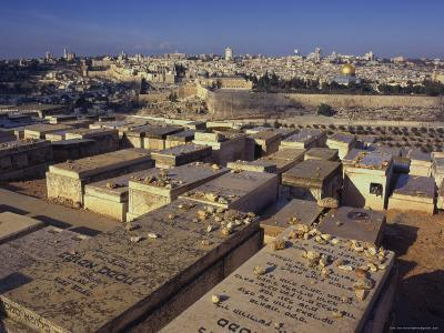 Jewish Tombs in the Mount of Olives Cemetery, with the Old City Beyond, Jerusalem, Israel-Eitan Simanor-Photographic Print