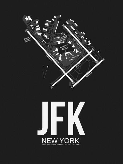 JFK New York Airport Black-NaxArt-Art Print