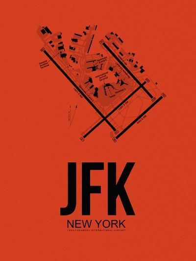 JFK New York Airport Orange-NaxArt-Art Print