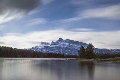 Long exposure landscape of the Two Jack Lake in the Banff National Park, UNESCO World Heritage Site