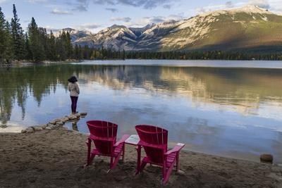 Tourist and Red Chairs by Lake Edith, Jasper National Park, UNESCO World Heritage Site, Canadian Ro