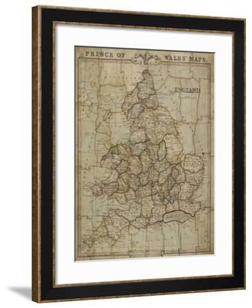 Jigsaw Puzzle of Prince of Wales' Maps: England, 1854-George Frederick Cruchley-Framed Giclee Print