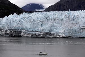 A Boat Sails in Front of Margerie Glacier in Glacier Bay National Park, Alaska by Jill Schneider
