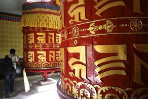 Prayer Wheels in Kathmandu by Jill Schneider