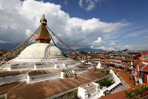 View of Boudhanath Stupa from One of the Many Rooftop Restaurants Surrounding It by Jill Schneider