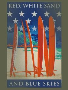 Surfboards Line Up by Jim Baldwin