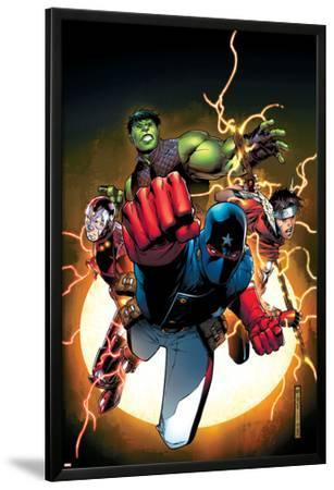 The Young Avengers No.1 Cover: Patriot, Hulkling, Wiccan, Iron Lad, Asgardian and Young Avengers