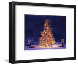 Snow Covering Adirondack Chairs by Lit Christmas Tree by Jim Craigmyle