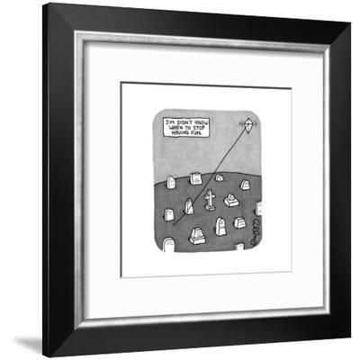 """Jim Didn't Know When to Stop Having Fun"" -- A kite flies on a string comi... - New Yorker Cartoon-J.C. Duffy-Framed Premium Giclee Print"