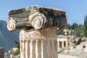 Detail of Ionic column, Delphi, Greece, Europe by Jim Engelbrecht