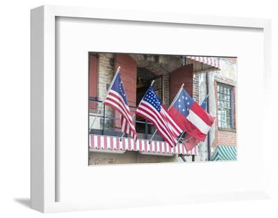 Georgia, Savannah, River Street, Flags