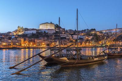Port Wine Boats on Douro River, Oporto, Portugal