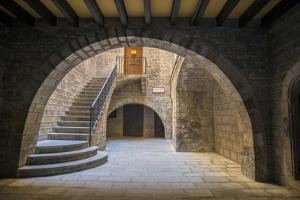 Spain, Barcelona, Temple Roma d'August, Staircase by Jim Engelbrecht