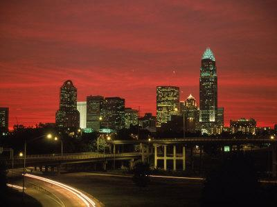 Skyline & Highway at Night, Charlotte, NC