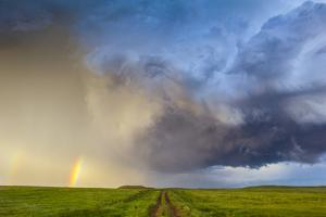 A Dirt Road Through a Field Seems to Lead to a Thunderstorm and Rainbow by Jim Reed