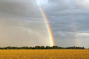 A Thunderstorm Produces a Double Rainbow by Jim Reed