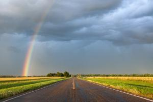 A Thunderstorm Produces a Vivid Rainbow Next to a Rain-Soaked Paved Road by Jim Reed