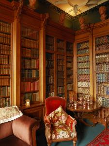 A Red Chair Sits Amid Shelves of Books in Balfour Castle's Library by Jim Richardson