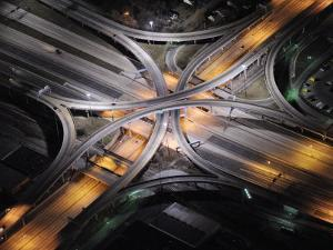 Aerial View of an Interstate Interchange in Detroit at Night by Jim Richardson
