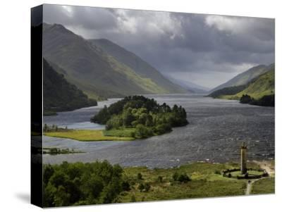 Highlanders' Statue on the Edge of Loch Shiel During a Rain Storm