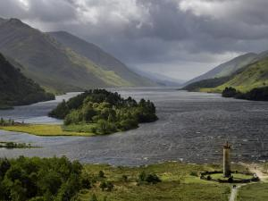Highlanders' Statue on the Edge of Loch Shiel During a Rain Storm by Jim Richardson