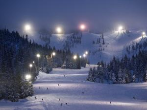 Lighting over the Mt. Hood Skibowl night skiing area by Jim Richardson