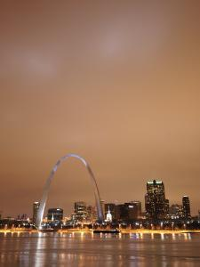 St. Louis Arch Is Lit at Night, Creating a Spectacular Display by Jim Richardson