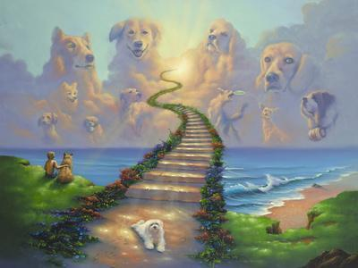 """Jim Warren Art Oil Painting Print On Canvas Home Decor/""""Stairway To Heaven/""""Framed"""