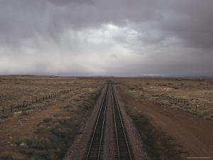 Train Tracks Stretch Toward the Horizon in New Mexico by Jim Webb