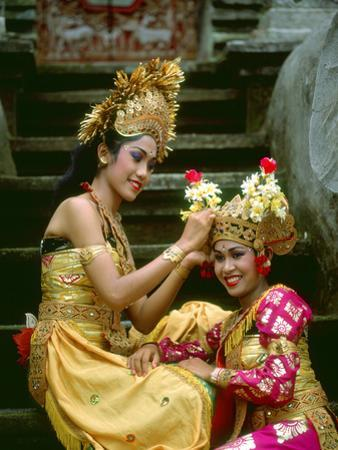 Balinese Dancers in Front of Temple in Ubud, Bali, Indonesia